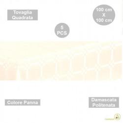 5 Tovaglie monouso di forma quadrata di lato 100 cm in carta damascata politenata a fondo pieno colore panna