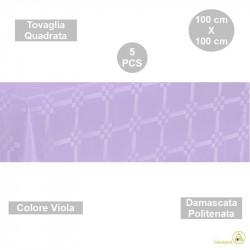 5 Tovaglie monouso di forma quadrata di lato 100 cm in carta damascata politenata a fondo pieno colore viola