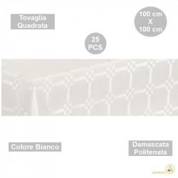 25 Tovaglie monouso di forma quadrata di lato 100 cm in carta damascata politenata a fondo pieno colore bianco