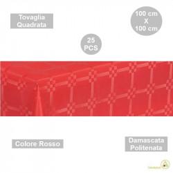 25 Tovaglie monouso di forma quadrata di lato 100 cm in carta damascata politenata a fondo pieno colore rosso