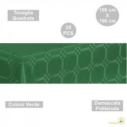 25 Tovaglie monouso di forma quadrata di lato 100 cm in carta damascata politenata a fondo pieno colore verde