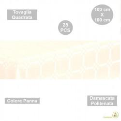 25 Tovaglie monouso quadrate 100 cmdamascate politenate a fondo pieno Panna