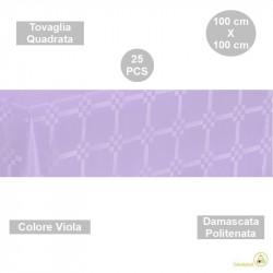 25 Tovaglie monouso di forma quadrata di lato 100 cm in carta damascata politenata a fondo pieno colore viola