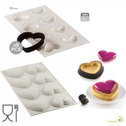 Kit Mini Tarte Petit Amour o Mini torte Amore stampo in silicone grigio per 8 tortine a cuore da Silimomart
