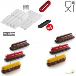 Kit Éclair 120 stampo in silicone per dessert lungo 13 cm con cutter e piattini da Silikomart