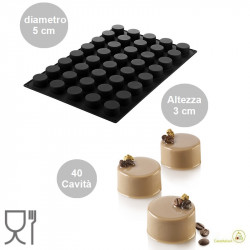 Stampo Sessantaquaranta Cylinders o Mini Cilindri diametro 5 cm, altezza 3 cm SQ079 in silicone da Silikomart