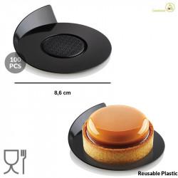 100 Vassoi monoporzioni rotondi in plastica neri da 86 mm, riutilizzabili da Silikomart