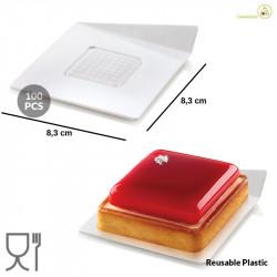 100 Vassoi monoporzioni quadrati in plastica bianca di lato 83 mm, riutilizzabili da Silikomart