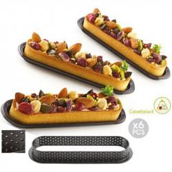 6 stampi ad anello microforati per crostatine dolcetti oblunghi tarte ring oblong da 15 cm di Silikomart
