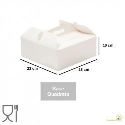 Scatola per torta quadrata 23 cm altezza 10 cm con manico in cartoncino uso alimentare colore bianca