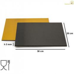 Sottotorta accoppiato oro e nero rettangolare da 20 per 30 cm, sottile da 3 mm