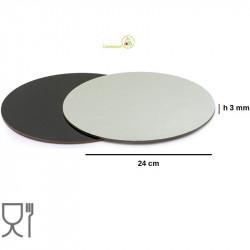 Vassoio sottotorta accoppiato nero e argento tondo da 24 cm
