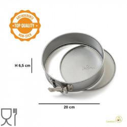 Tortiera acciaio antiaderente a cerniera apribile con fondo mobile diametro 20 cm ed altezza 6,5 cm