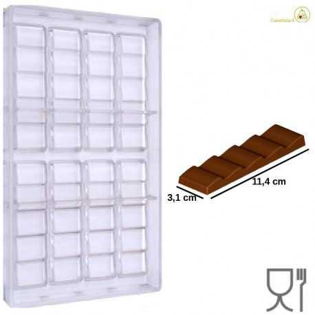Stampo Cioccolato Barretta 5 scalini dal peso 30 g e lunga 114 mm