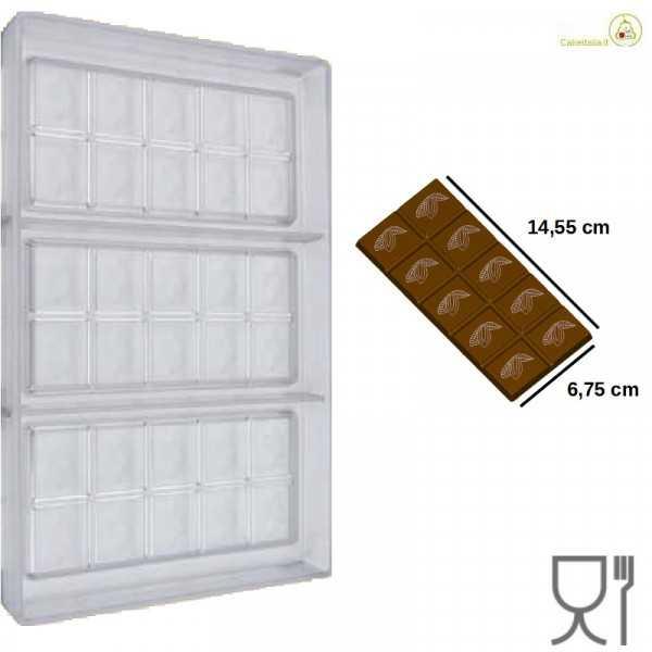 Stampo Tavoletta cioccolato rettangolare Cabossa 75 g  lunga 14,5 cm
