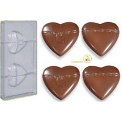Stampo cioccolato cuore gigante con lucchetto da 8 cm in policarbonato