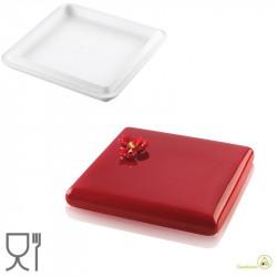 Decor Square 560, stampo quadrato in Silicone bianco Top White di 17 cm, h 2 cm, volume 560 ml di Silikomart