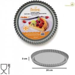 Stampo Furbo Forma Crostata Tonda con Fondo Rialzato diametro 24 cm, altezza 3 cm in acciaio antiaderente