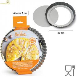 Stampo Crostata Tonda Fondo Mobile diametro 20 cm altezza 3,5 cm in acciaio antiaderente da Decora