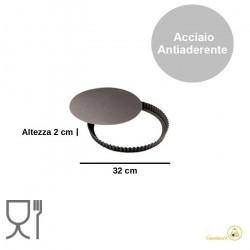 Forma Crostata Tonda Fondo Mobile diametro 32 cm, altezza 2 cm, in acciaio antiaderente