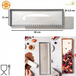Forma Crostata Rettangolare Fondo Mobile 35 cm x 11 cm h 2,5 cm in acciaio alta qualità da Decora
