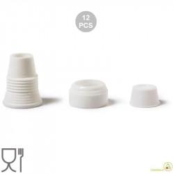12 Adattatori per cornetti standard con cappuccio salva freschezza, in plastica bianca per alimenti da Decora