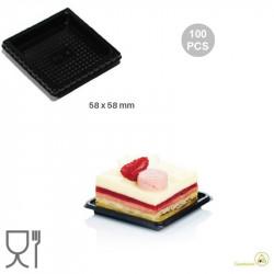 100 Vassoi monoporzioni quadrati in plastica nera di lato 58 mm, riutilizzabili da Silikomart