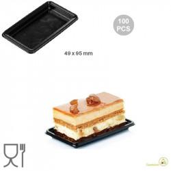 100 Vassoi monoporzioni rettangolari in plastica nera larghi 49 mm lunghi 95 mm, riutilizzabili da Silikomart