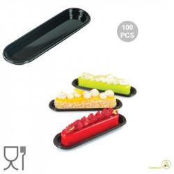 100 Vassoi monoporzioni Eclair in plastica nera, riutilizzabili della linea Fashion di Silikomart