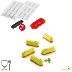 Kit Caroline 30 stampo in silicone per mini dessert lungo 8 cm con cutter e piattini da Silikomart