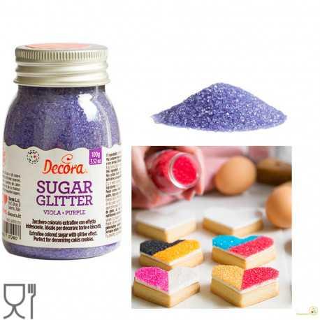 Cristalli di Zucchero Viola glitterato, in barattolo da 100 g di Decora.