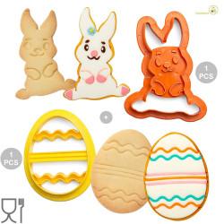 Set 2 Tagliapasta 1 Coniglio e 1 Uovo decorato in plastica da Decora
