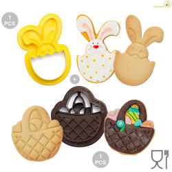 Set 2 Tagliapasta 1 Cestino e 1 Coniglio Bunny in plastica da Decora