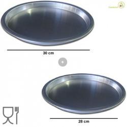 Set 2 Ruoti per Piazza diametri 28 cm e 30 cm, altezza 2,5 cm in alluminio