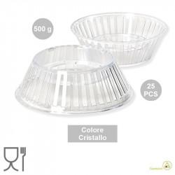 25 Supporti per uovo di Pasqua da 500 g, a forma barchetta colore trasparente effetto cristallino