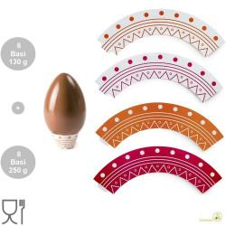 Confezione 16 supporti o basi per Uova di pasqua da 130 g e da 250 g, in carta plastificata in colori assortiti