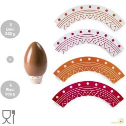 Confezione 16 supporti o basi per Uova di pasqua da 350 g e da 500 g, in carta plastificata in colori assortiti