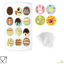 Kit Stampo termoformato per 12 uova decorate con 40 bustine ed adesivi da Decora