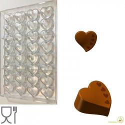 Stampo cioccolato cuore con decoro 4 cuoricini in policarbonato