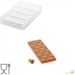 CH005 Riga T: Stampo in Tritan per 4 Tavolette di Cioccolato con decoro a righe da Silikomart