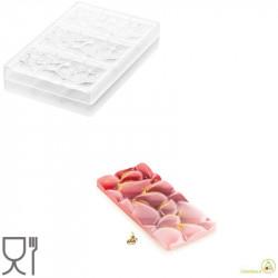 CH008 Goccia T: Stampo in Tritan per 3 Tavolette di Cioccolato con decoro a goccia da Silikomart