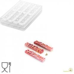 CH009 Goccia B: Stampo in Tritan per 88 Barrette di Cioccolato con decoro a goccia da Silikomart