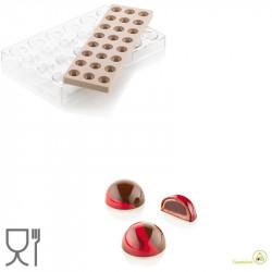 CH013 Kit Semisfera 01: Stampo Tritan Forma semisfera 24 Cioccolatini + Stampo Silicone per inserti da Silikomart