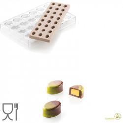 CH014 Kit Ovale 01: Stampo Tritan Forma ovale 24 Cioccolatini + Stampo Silicone per inserti da Silikomart