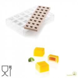 CH015 Kit Quadro 01: Stampo Tritan Forma quadrato 24 Cioccolatini + Stampo Silicone per inserti da Silikomart