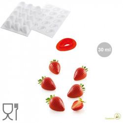 Stampo in silicone Fragola da 30 ml in silicone Bianco con tagliapasta da Silikomart