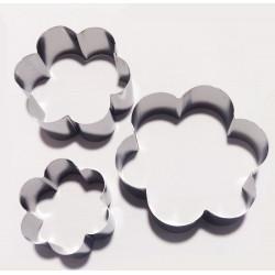 Set 3 Cutter tagliapasta Fiore in Acciaio alti 4 cm di lato 6 cm 8 cm 10 cm