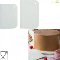 Set 2 Tarocchi lisci o spatole lisce o raschia multiuso in plastica bianca da Decora