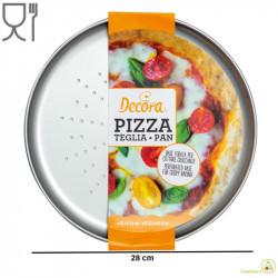 Teglia Forata per Pizza Focaccia diametro 28 cm altezza 1,8 cm in acciaio antiaderente da Decora