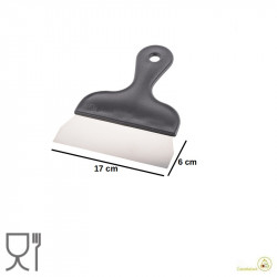 Tarocco o spatola o raschia multiuso in acciaio inox con manico in plastica larga 17 cm, alta 6 cm da Silikomart